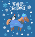 merry christmas horse and bird vector image