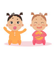 newborn baby girl twins sitting together vector image