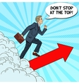 Pop Art Successful Businessman Walking to the Top vector image