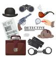 professional retro detective accessories big vector image