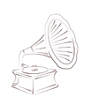 Sketched gramophone vector image