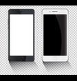 smartphones mockup black and white smartphone vector image