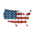 USA Map With Wooden Flag vector image