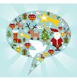 Christmas icon set in speech bubble shape vector image