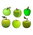 Fresh green apples fruits set vector image