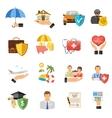 Insurance Flat Icons Set vector image