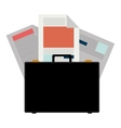 colorful briefcase and documents office vector image