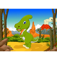 funny Parasaurolophus cartoon with volcano vector image