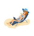 girl in beautiful underwear resting on beach vector image