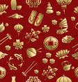 Gold asia culture icon seamless pattern chinese vector image