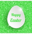 Happy Easter Greeting Card with 3d White Paper Egg vector image