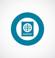 passport icon bold blue circle border vector image
