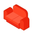 Red sofa isometric 3d icon vector image
