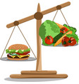 scales with a hamburger and vector image