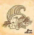 Vintage old background with cornucopia Hand vector image