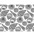 Seamless pattern with hand drawn ornate seashells vector image