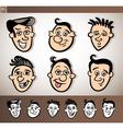 cartoon men heads set vector image vector image