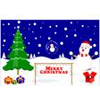 Merry Christmas glass ball snowman vector image