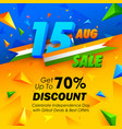 independence day of india sale banner with indian vector image