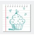 cupcake sketch vector image vector image