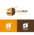 burger and bomb logo combination hamburger vector image