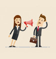 business woman shouts at the man in the megaphone vector image