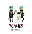 couple zombie man near rip gravestone vector image