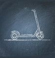 kick scooter sketch on chalkboard vector image