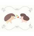 Love valentine card with hedgehogs - cute design vector image