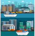Sea Port Orthogonal Banners vector image