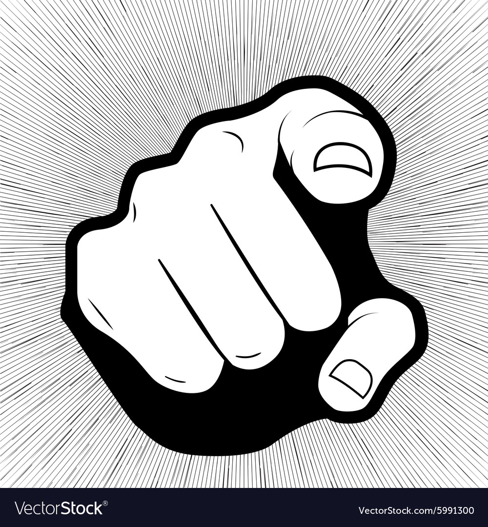 Pointing finger or hand pointing icon isolated on vector