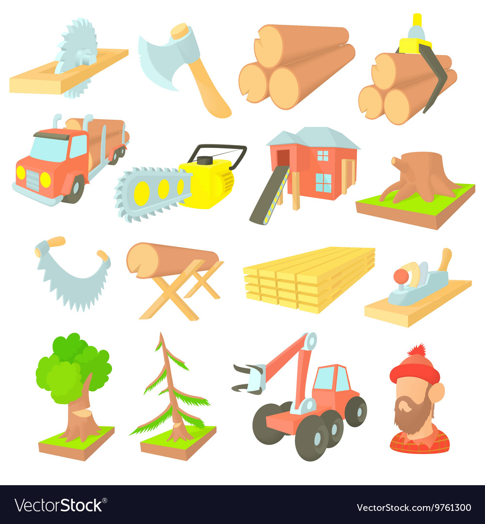 Timber industry icons set cartoon ctyle vector