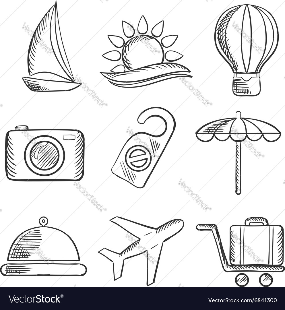 Travel and tourism sketched icons set vector