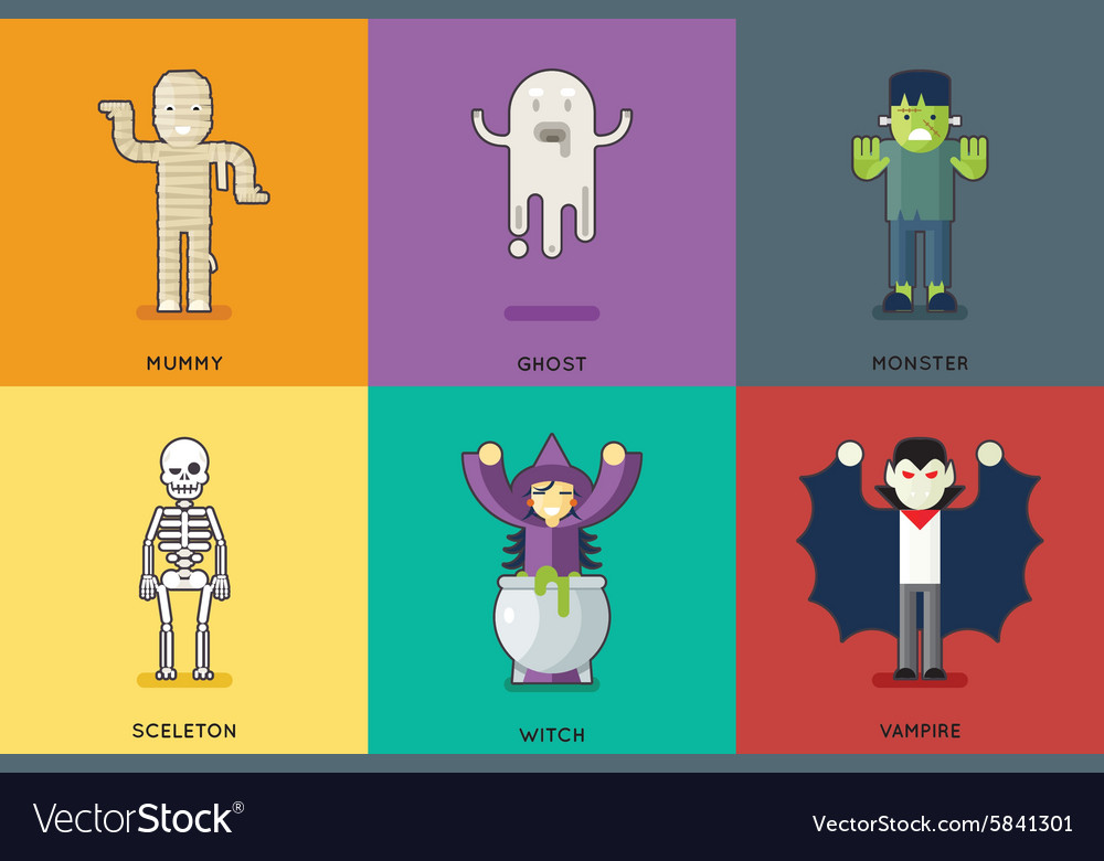 Halloween party roles characters icons set stylish vector