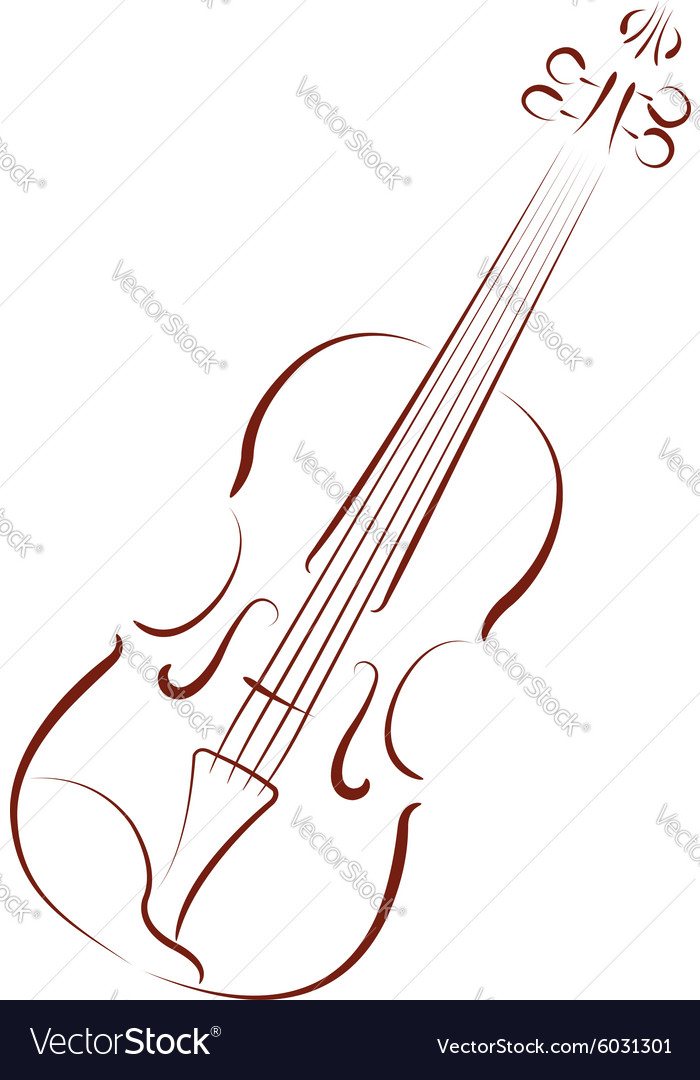 Sketched violin vector