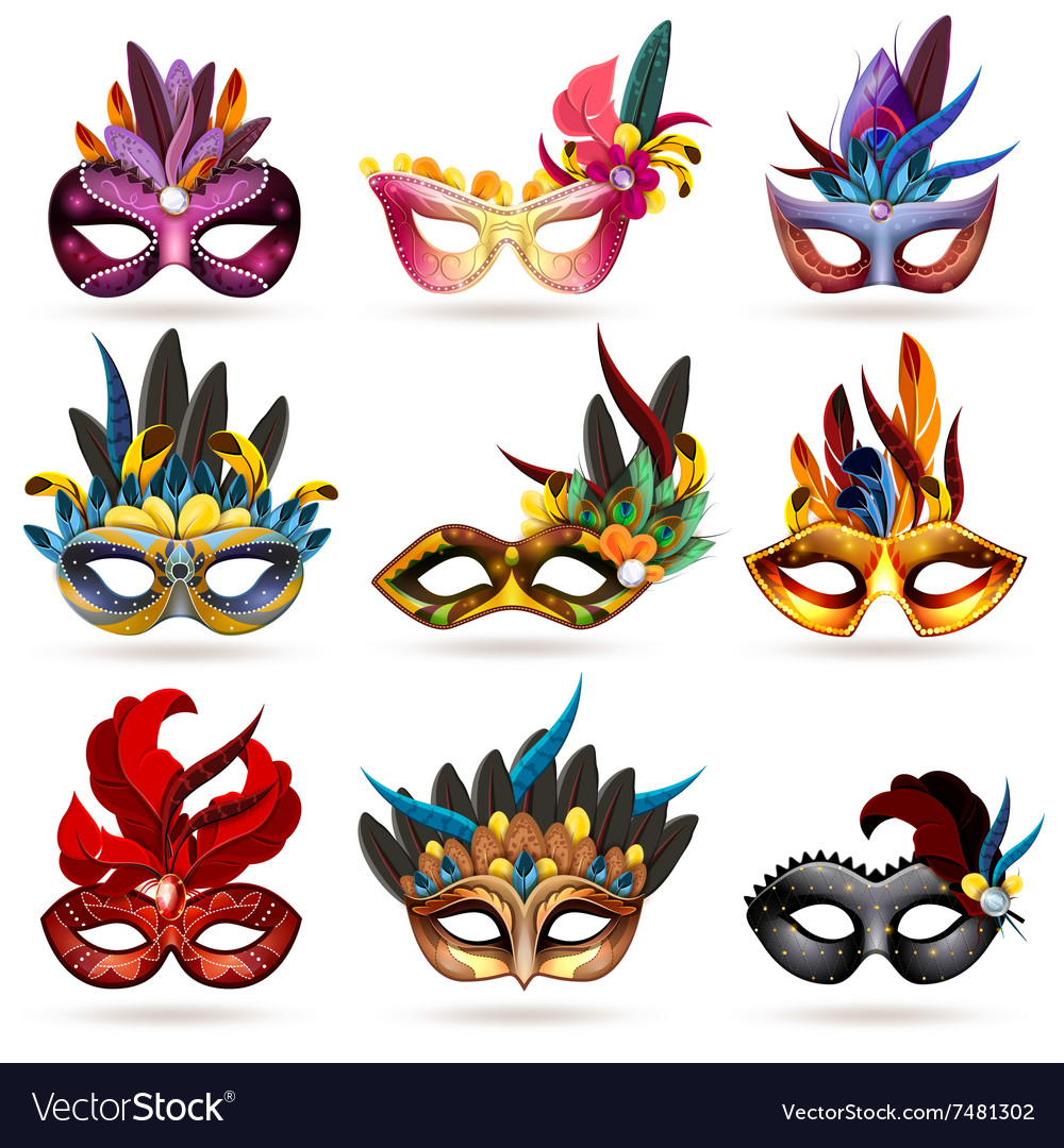 Mask icons set vector
