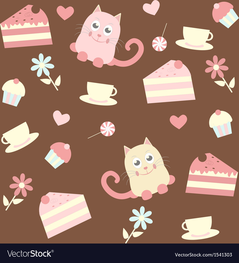 Background with cats and cakes vector