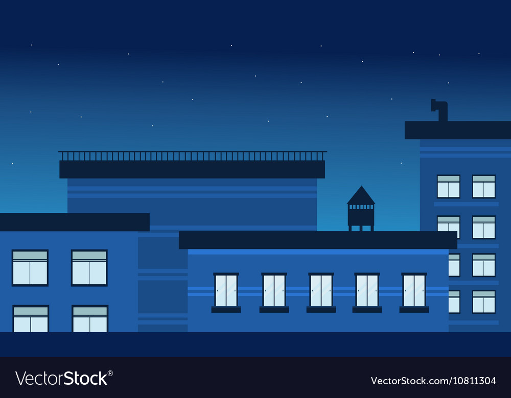 At night building landscape vector
