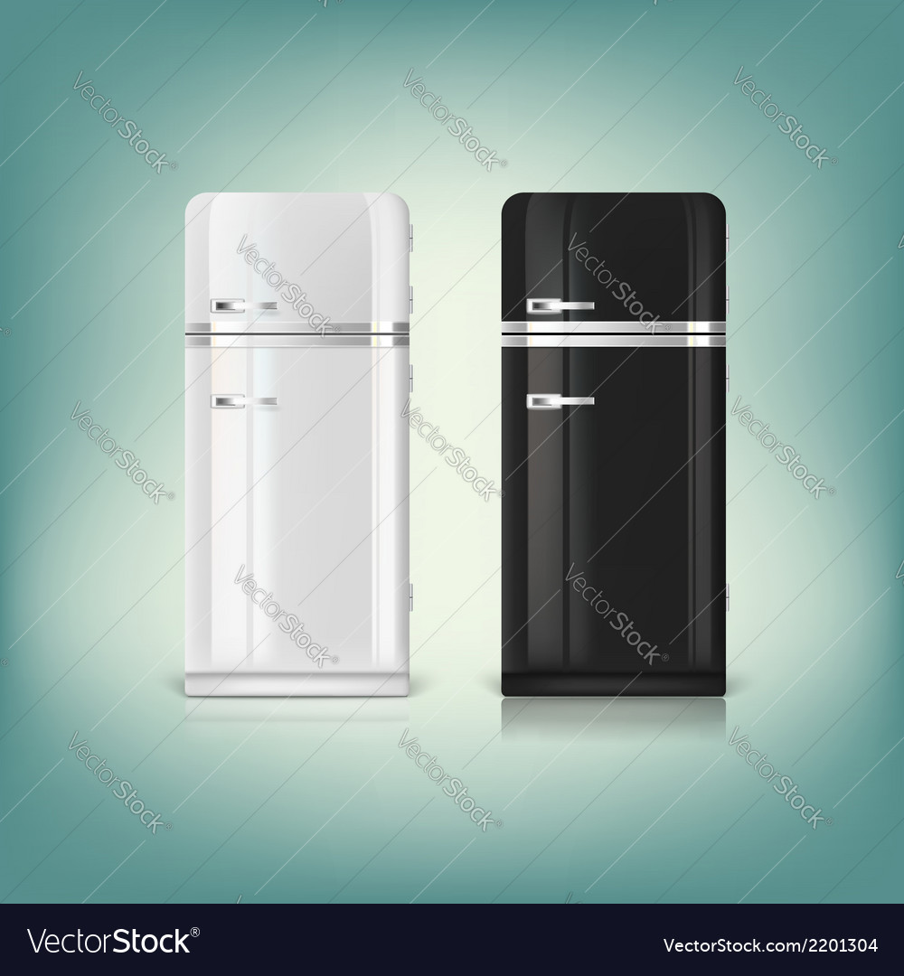 Collection of stylish retro refrigerators vector