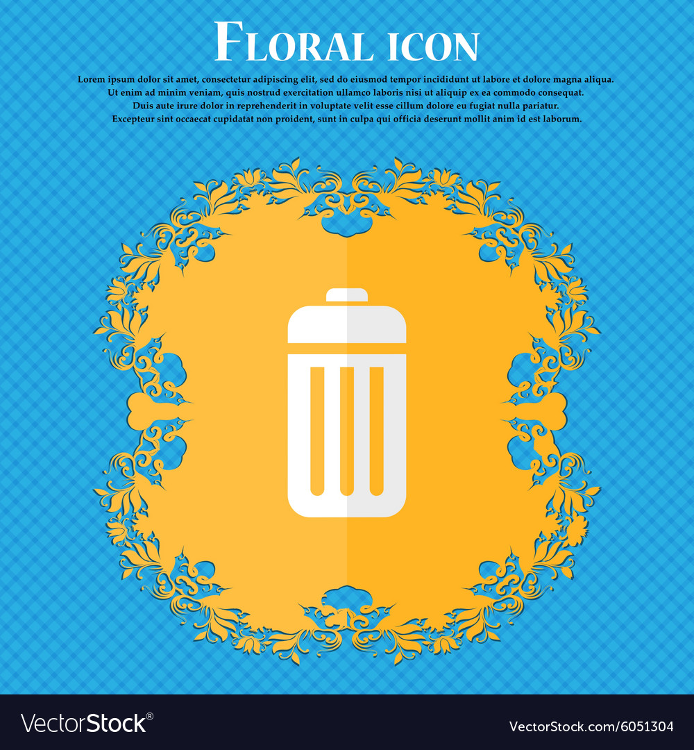 Trash floral flat design on a blue abstract vector