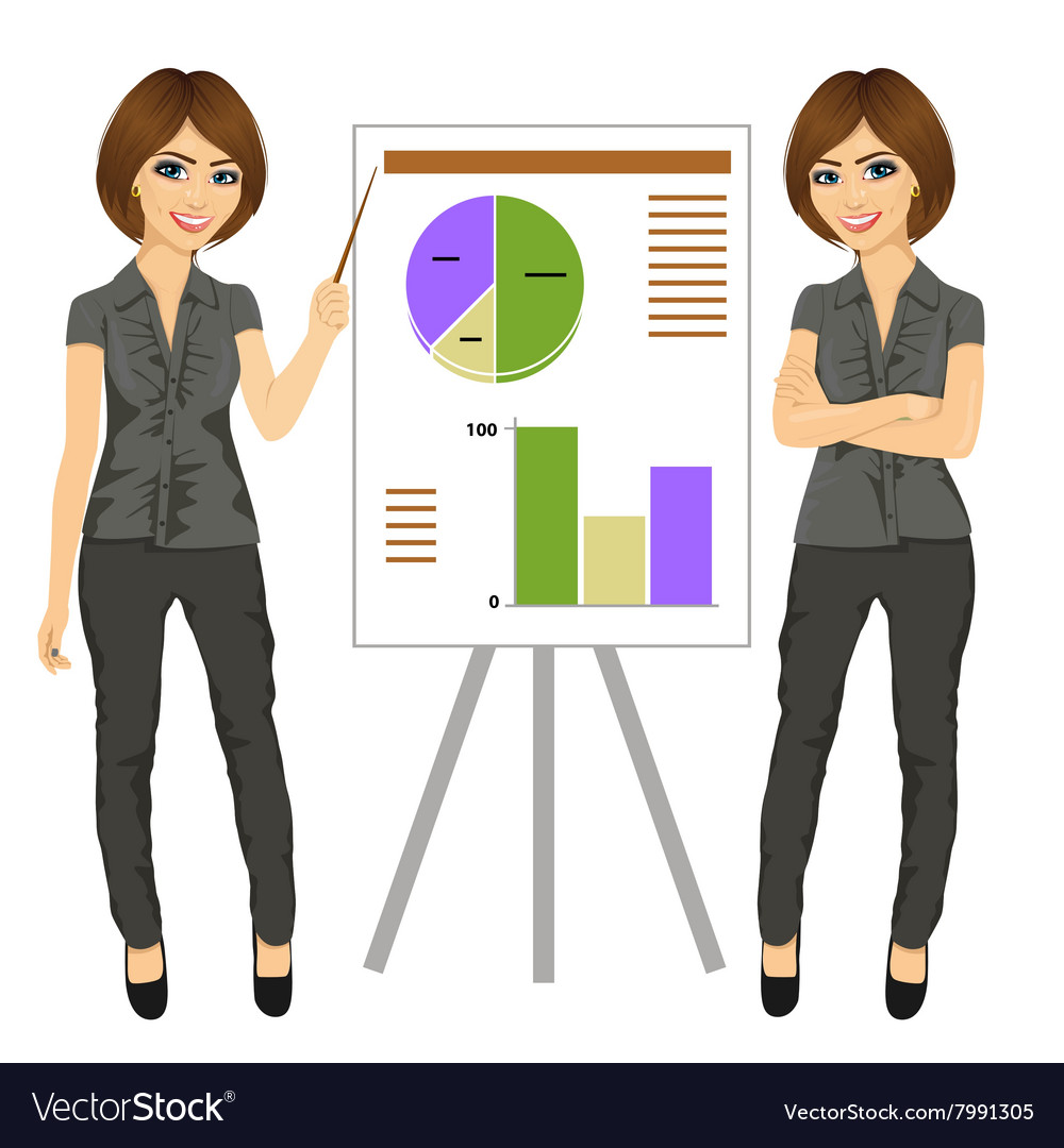 Beautiful businesswoman standing near flip board vector