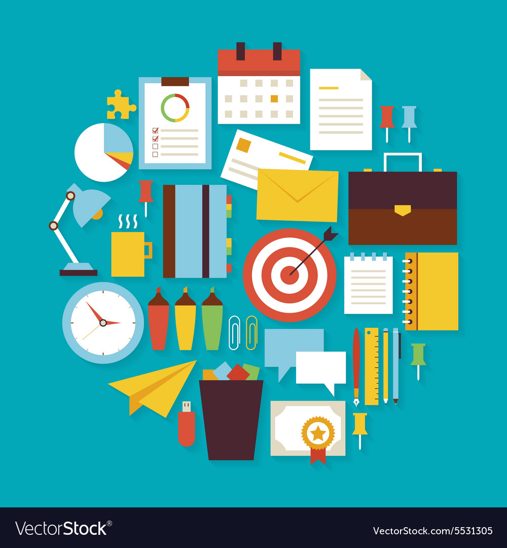 Business workplace and office flat design circle vector