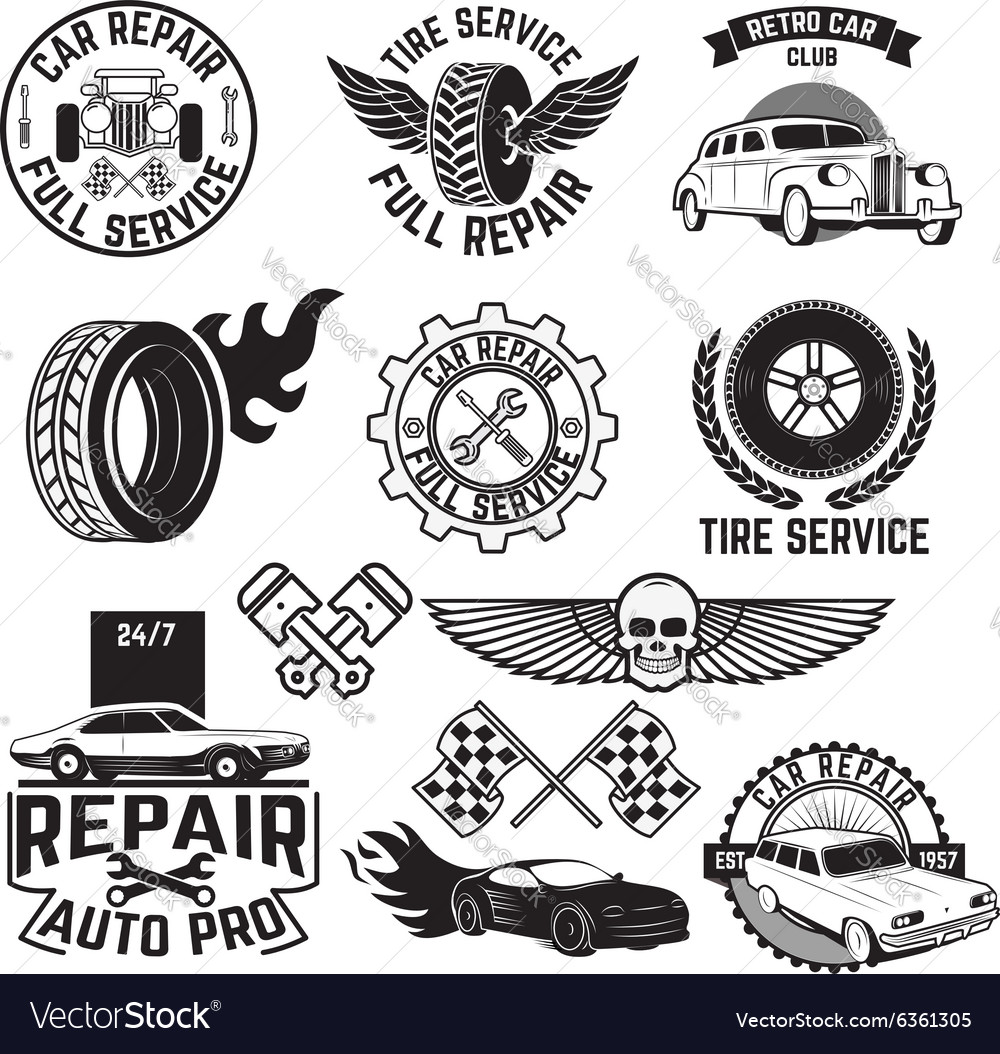 Car servise labels vector