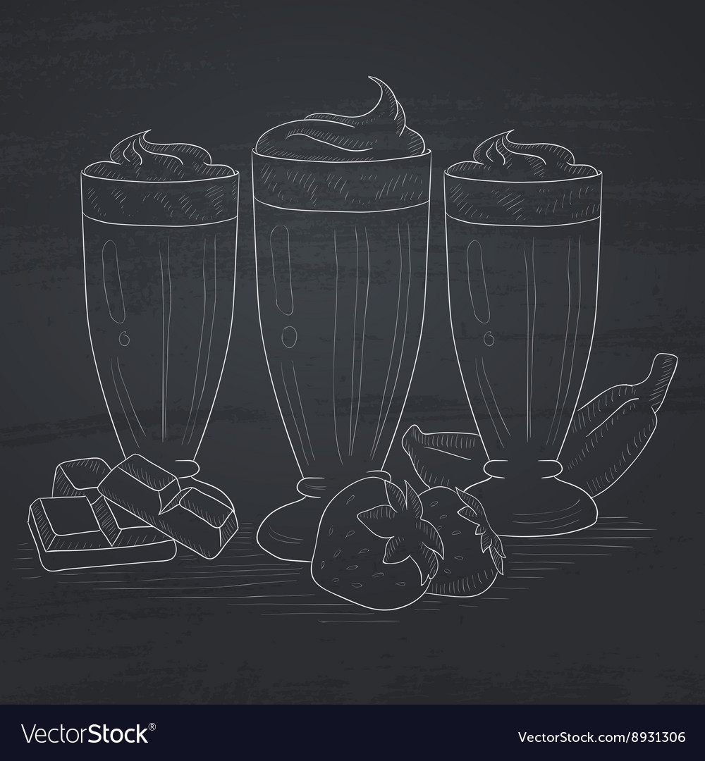Banana strawberry and chocolate smoothies vector