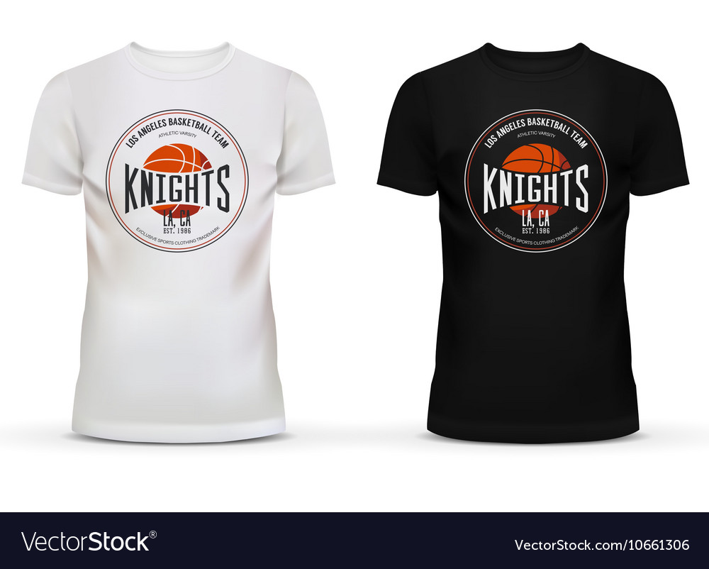 Basketball logo on uneck tshirt ball and basket vector