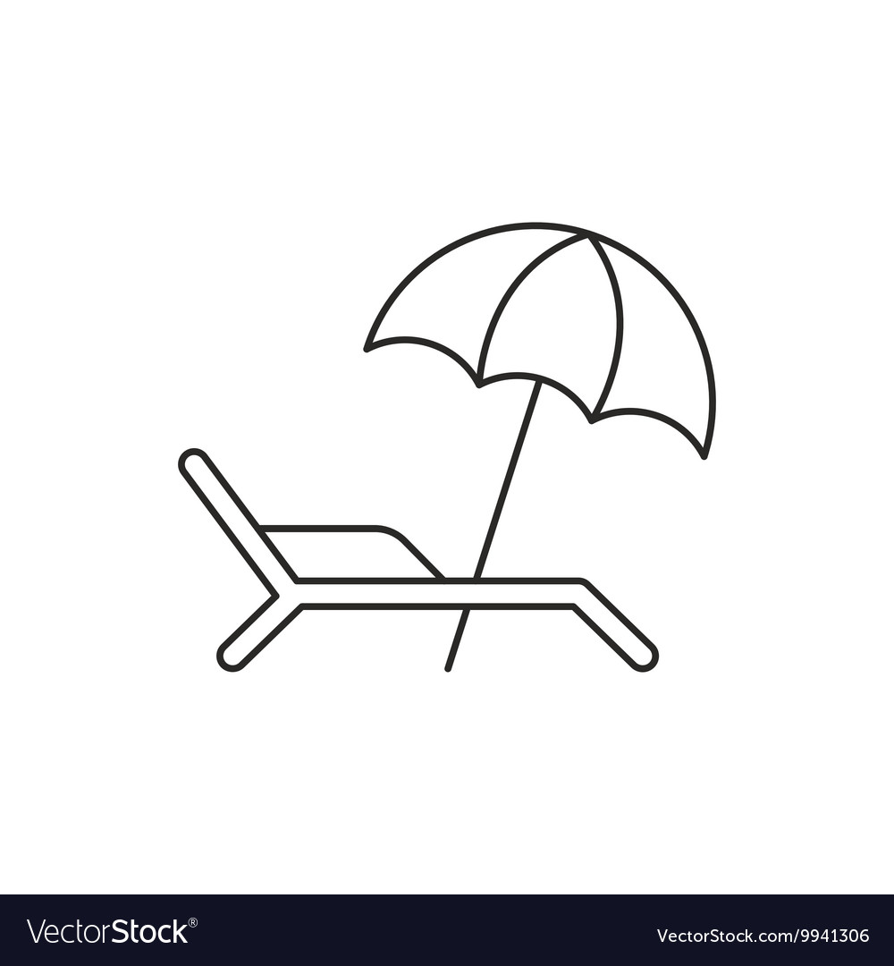 Beach umbrella icon with deckchair vector