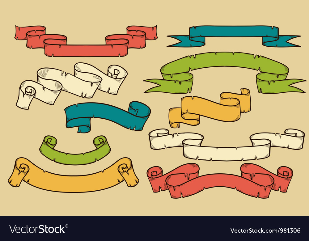 Collection of ribbons and flags vector
