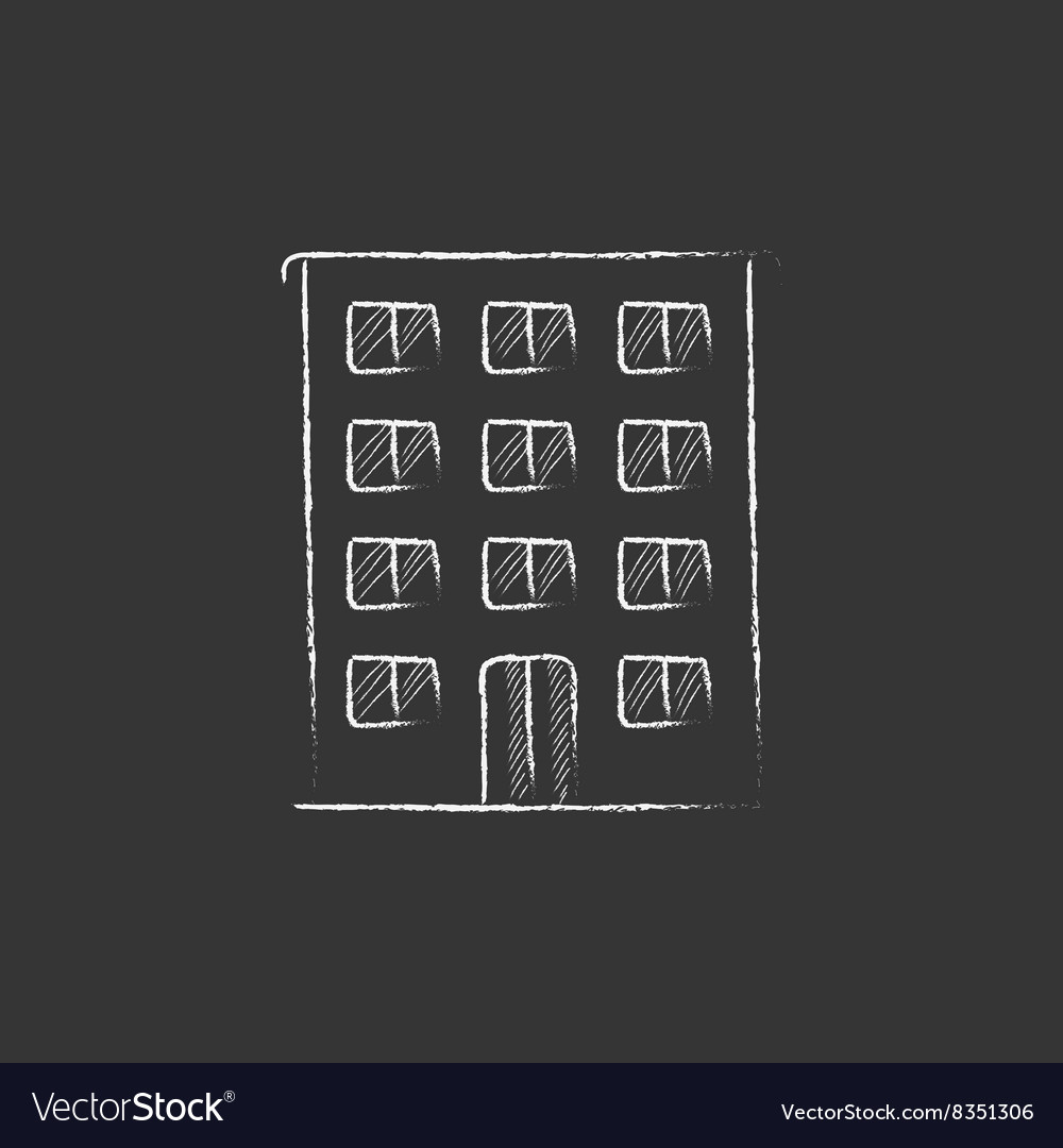 Residential building drawn in chalk icon vector