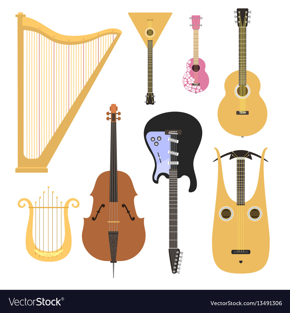 Set of stringed musical instruments classical vector