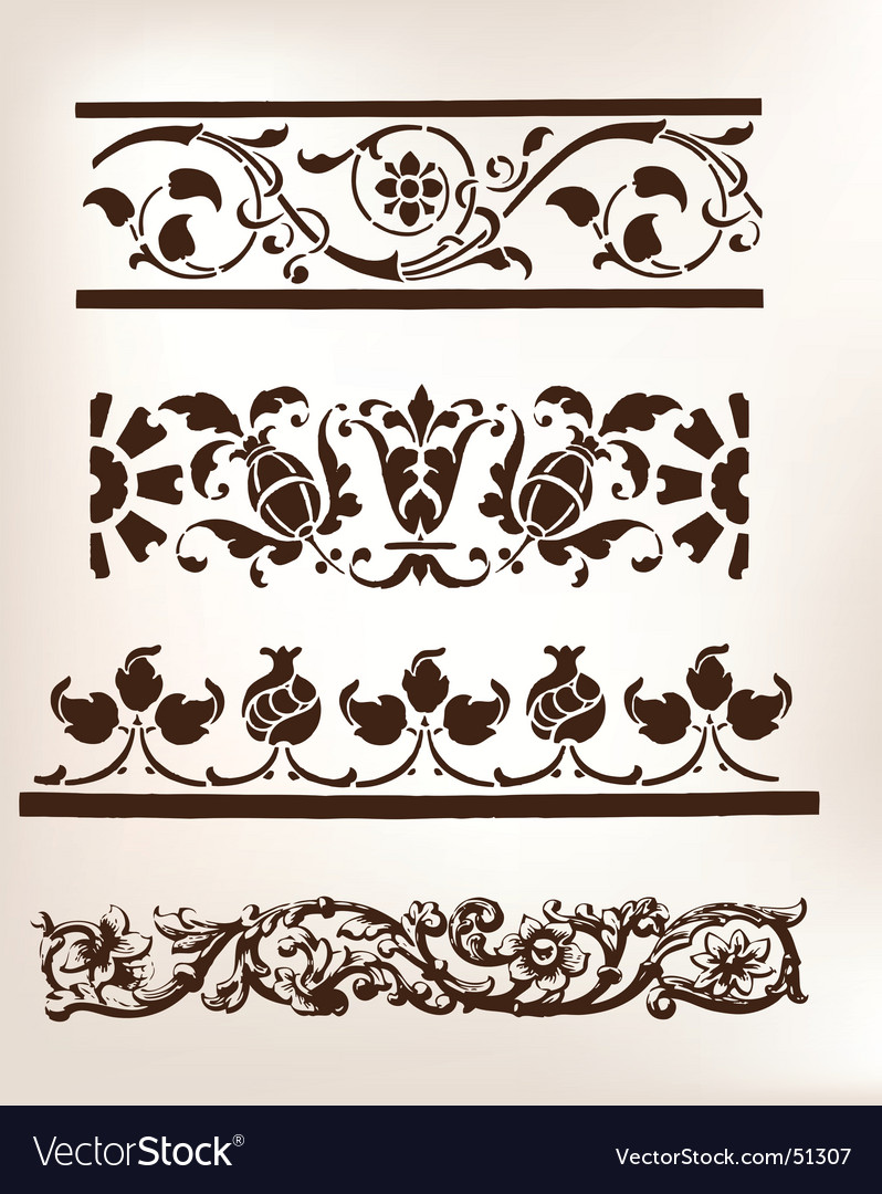 Set of vintage design boarders vector